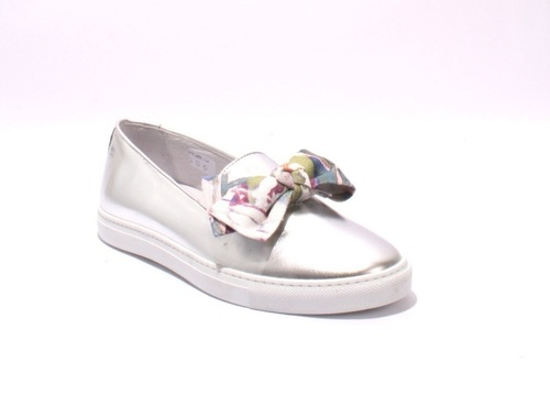 Diego Bellini Metallic Leather / Multi-color Fabric Bow Slip-On Loafers