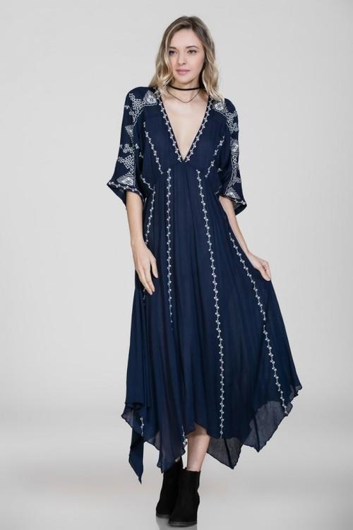 Boho Emb. Short Sleeve Maxi Dress