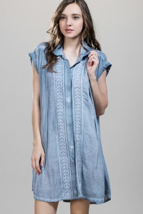Short Sleeve Emb. Shirt Dress