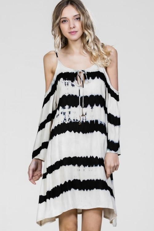Tie Dye Bell Sleeve Cold Shoulder Short Dress