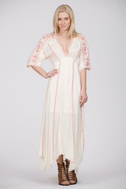 Emb. Kimono Midi Dress