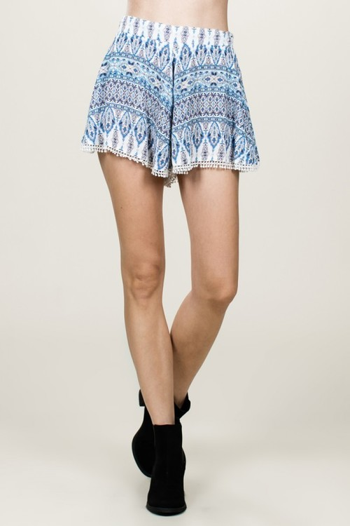 Printed Shorts w/ Lace Trim