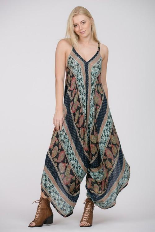 Paisley Printed V Neck Romper Dress