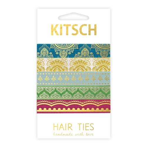 Kitsch Golden pattern knotted elastics Set of 5 cOBgyA7Tot