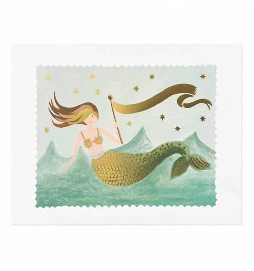 Vintage Mermaid Print- 8x10