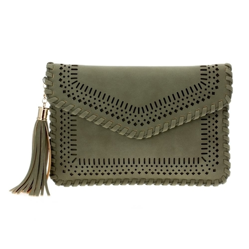 Laser Cut Woven Envelope Clutch