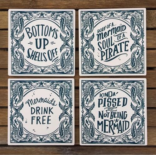 Mermaids Stone Coaster Set