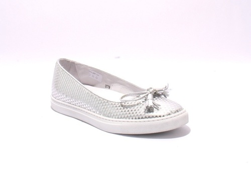 Silver Leather Slip-On Bow Loafer Shoes