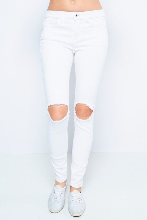 Mid Rise Ripped Knee Skinny Jeans