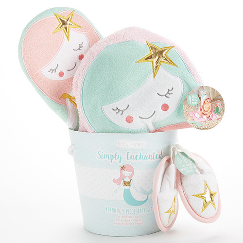 Mermaid 4 Piece Bath Time Set