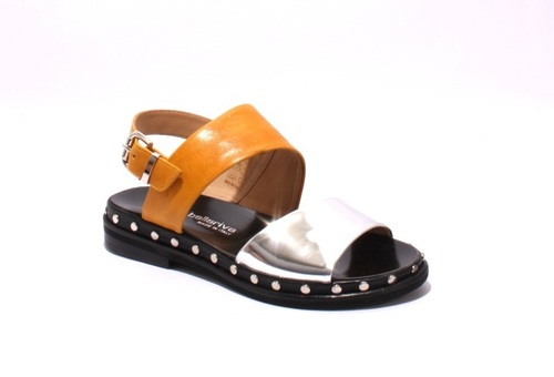 f58b10eb2c57 Mustard Metallic Leather Studded Sandals