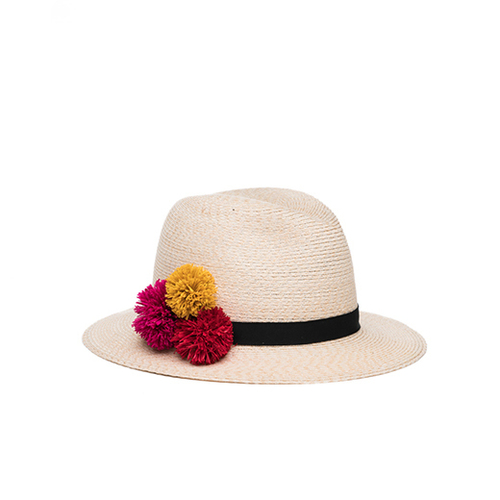 Lillian - Ivory/Natural Hemp Fedora with Multicolor Raffia Poms and Black Grosgrain Band