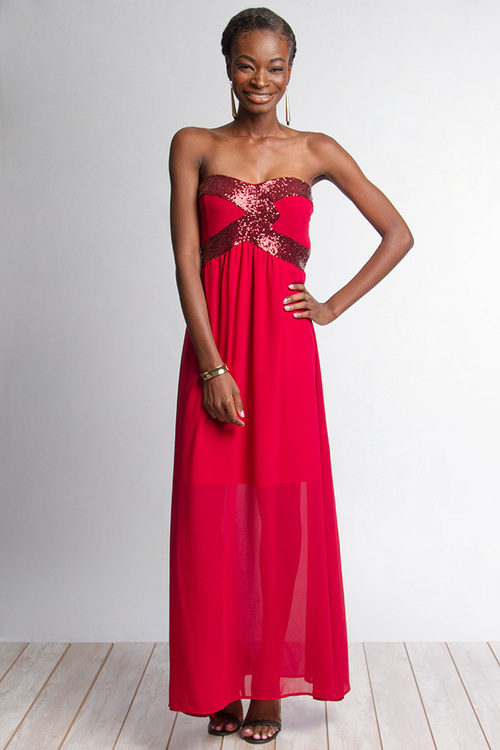 Annalisa sequin maxi dress (Red)