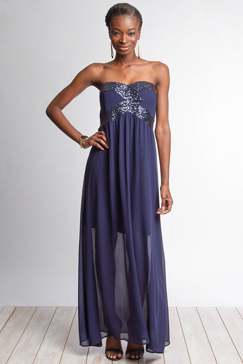 Annalisa sequin maxi dress (Navy)
