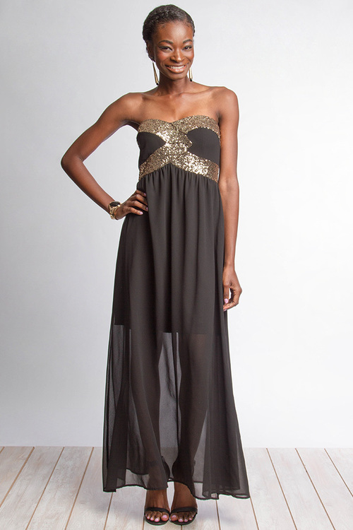 Annalisa sequin maxi dress (Black)