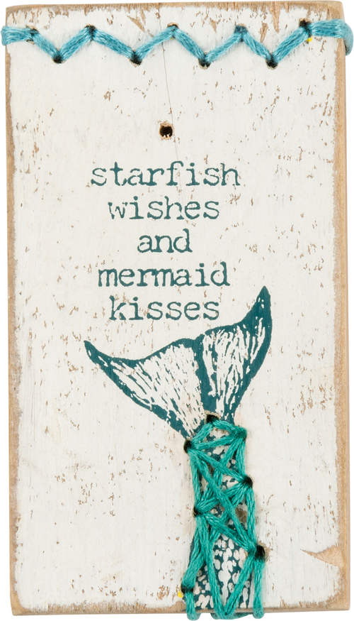 Stitched Mermaid Kisses Sign