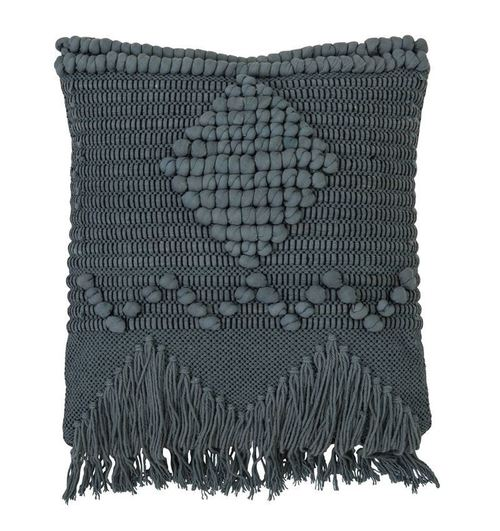 Detailed Woven & Fringe Blue Pillow