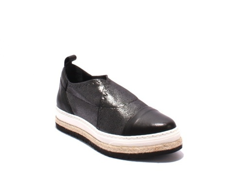 Black Leather Gray Mesh Pointy Slip-On Shoes