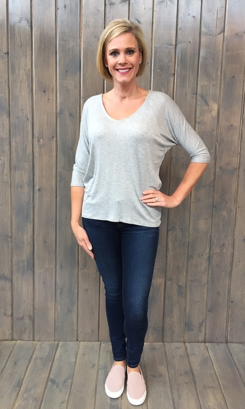 Heather Grey 3/4 Sleeve Dolman
