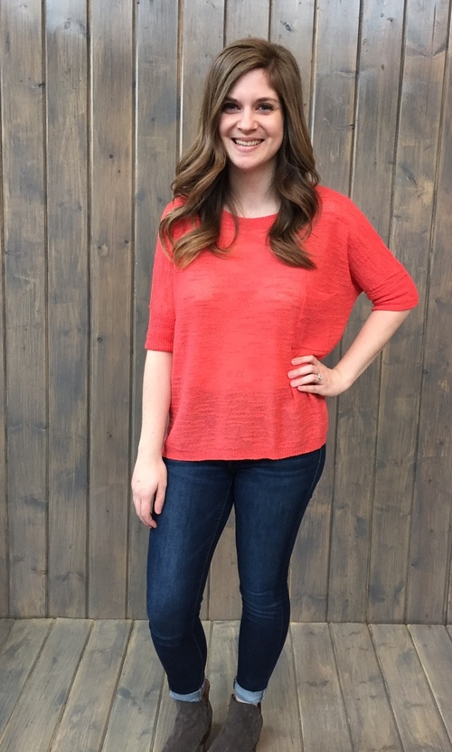 Dark Coral Cropped Pocket Sweater