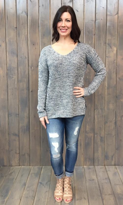 Marled Yarn V Neck Sweater
