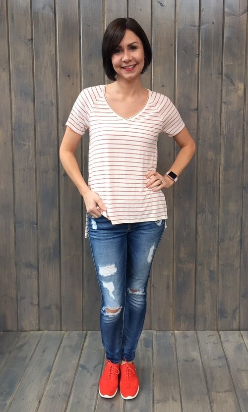Tangier Crabapple Striped Tee