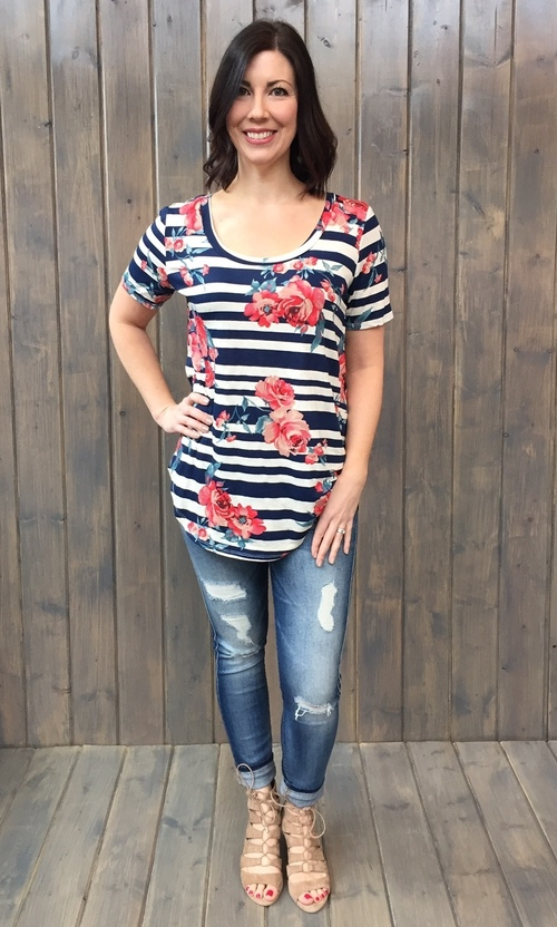 Oversized Floral Stripe Tunic