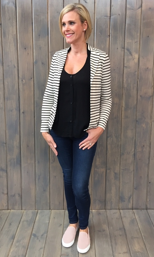 Black & White Striped Knit Blazer