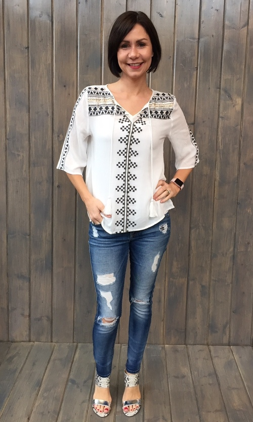 Embroidered & Sequin Blouse