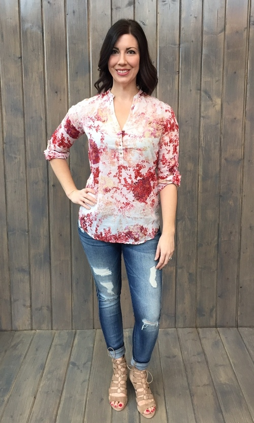 Krista Red Floral Pullover