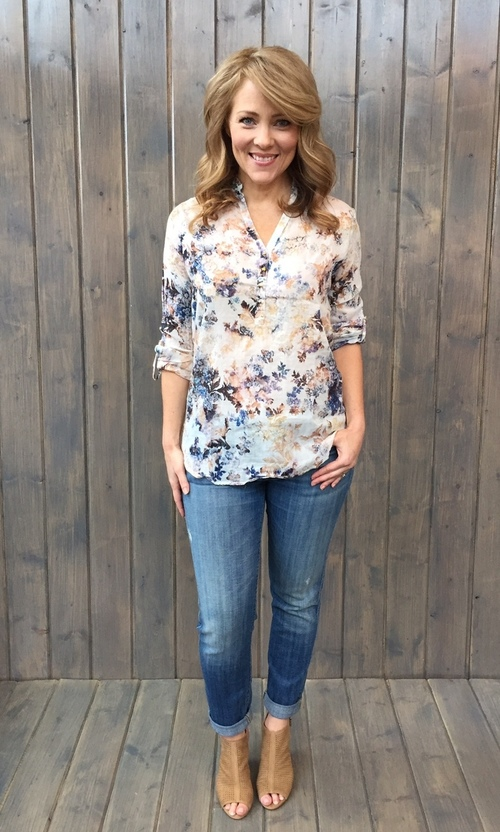 Bettina Blue Floral Pullover