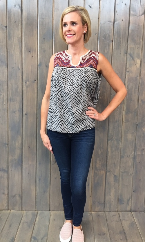 Pom Trim Printed Top