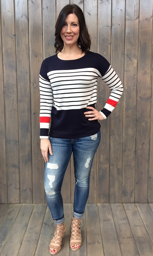 Navy & White Color Block Sweater