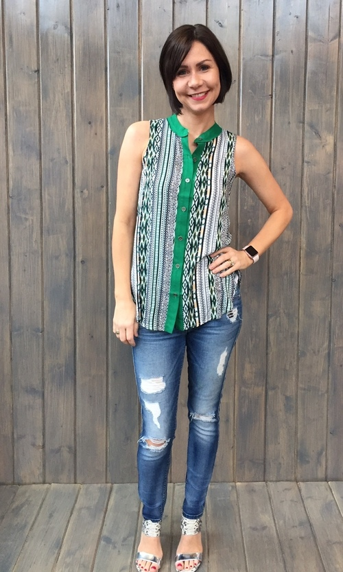 Aztec Print Button Down Blouse