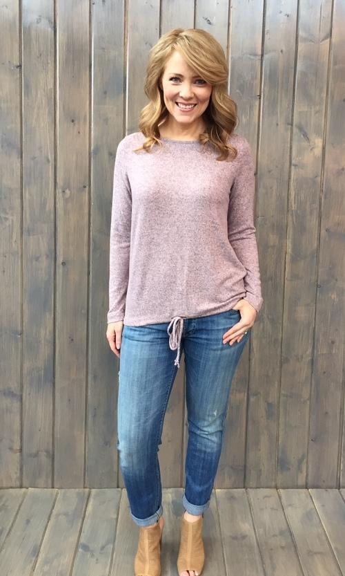 Brushed Jersey Drawstring Pink Pullover