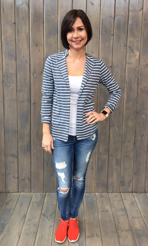 Navy & White Striped Knit Blazer