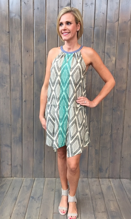 Mock Neck Diamond Print Dress
