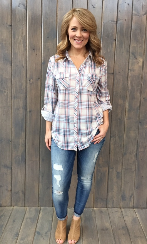 Ivory & Denim Blue Knit Button Down
