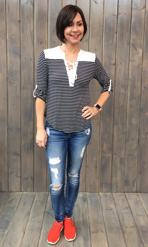 Navy Striped Lace Neck Henley
