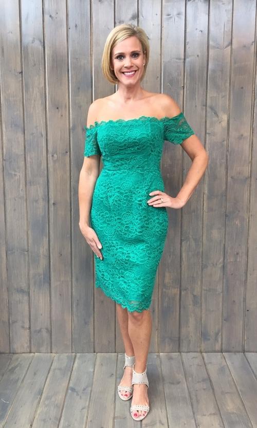 Moreen Leaf Green Lace Dress