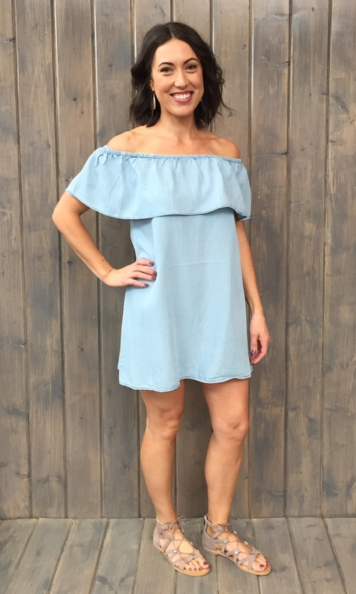 Maci Light Blue Off Shoulder Dress
