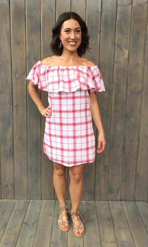 Red Plaid Off Shoulder Linen Dress