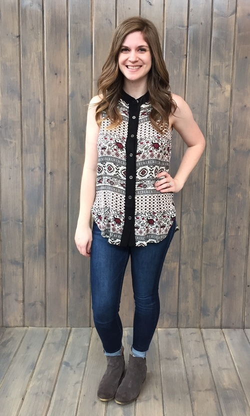 Eclectic Print Button Down
