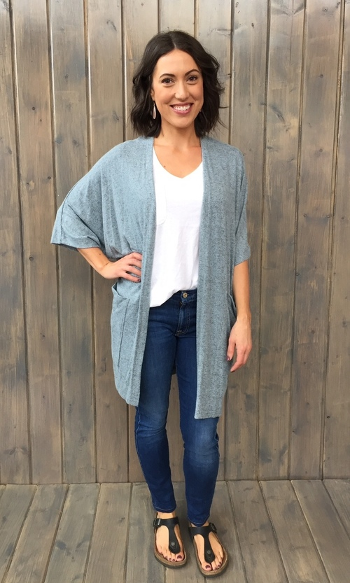 Brushed Jersey Short Slv Cardi Blue