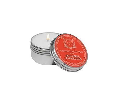 Red Amber Lemongrass tin soy candle