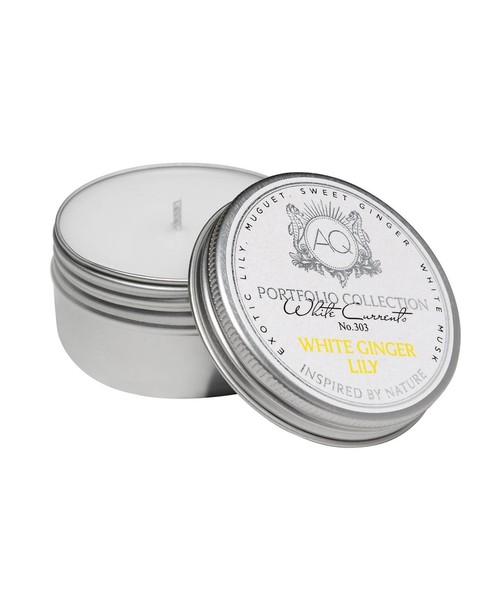 White Ginger Lily tin soy candle
