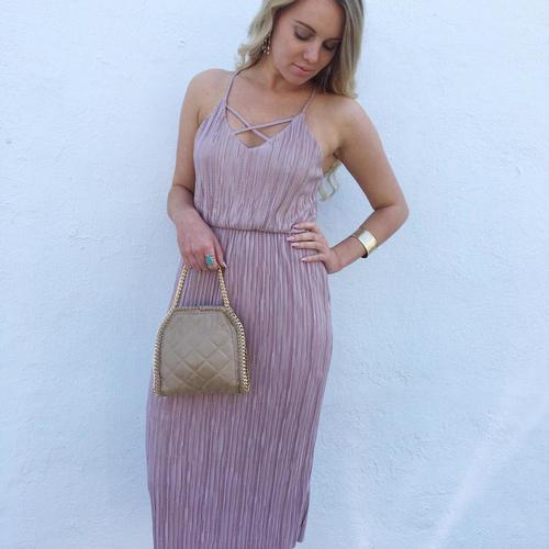 Pleated X Midi Dress
