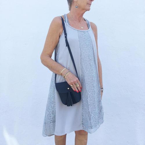 Hi Low Midi Dbl. Braided Strap Dress