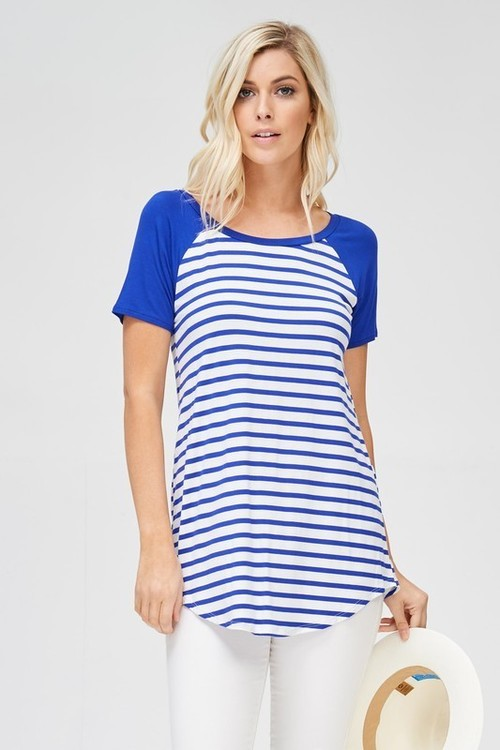 Striped Baseball Tee Royal Blue