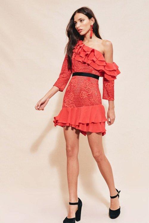 Chianti Off Shoulder Ruffle Dress